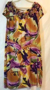 AA Studio Sz 16W Pink Purple Green Ruffle Dress
